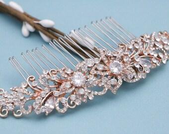 wedding hairpiece headband Wedding hair comb Rhinestone hair clip Wedding comb Rose gold Bridal hair comb Crystal hair clip Vintage style