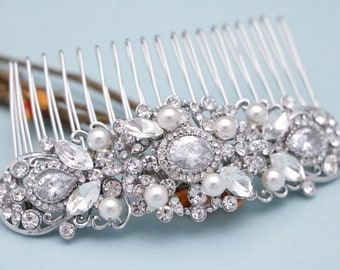 wedding hair accessories boho Wedding hair comb Blue Bridal hair piece Pearl hair pins Vintage style Wedding comb Crystal Bridal comb Prom