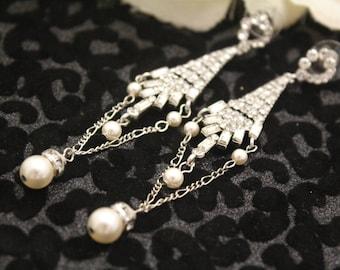 Bridal Earrings Studs,Crystal and Pearl Drop Wedding Earrings for Bridesmaid,Chandelier Earrings,Wedding Jewelry,Crystal Bridal Earrings,
