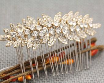 wedding hair comb gold wedding comb for hair wedding comb for hair bridal hair comb vintage style Bridal comb Rhinestone hair pins Wedding