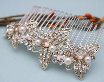wedding comb hairpiece crystal hair pieces for wedding hair comb Vintage style Bridal hair comb Pearl hair comb Rhinestone head comb Boho