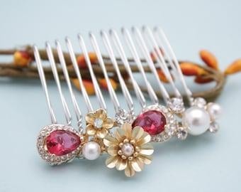 bridal hair comb rhinestone hair piece Wedding hair accessories Red Wedding comb Crystal hair pins Bridal comb Blue Wedding hair jewelry Pin