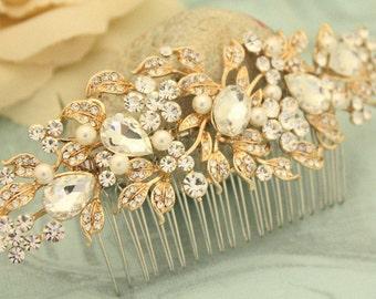 Bridal hair piece Bridal hair comb Gold hair vine Gold hair comb Pearl hair vine gold hair piece bridal vine gold,gold leaf hair comb,Boho