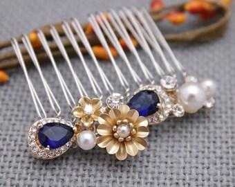 Wedding hair comb navy Wedding headpiece Pearl Wedding hair pins Wedding hair jewelry Bridal hair comb Rhinestone hair comb Bridal comb Prom