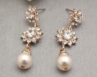 Crystal Bridal earrings,Rose Gold Wedding jewelry Swarovski Crystal Wedding earrings Bridal jewelry,Pearl earrings,Bridesmaid earrings,pearl