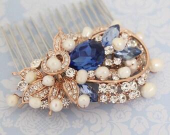 Wedding Rhinestone Hair Comb Bridal Rhinestone Hair Comb Rose Rhinestone Hair Comb Swarovski Crystals Something Blue Hair Comb,Bridesmaid