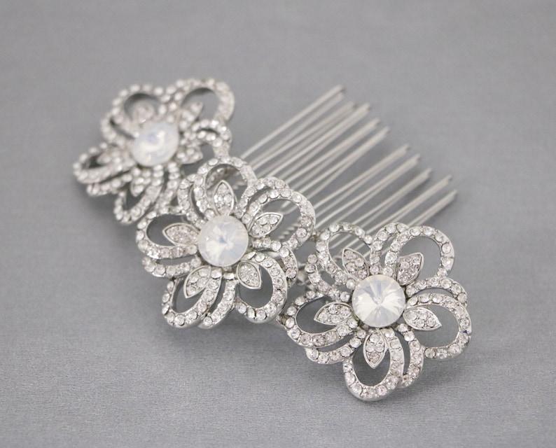 Opal /& Crystal Bridal Comb Petite Opal Bridal Comb Opal Wedding Comb Bridal Hair Comb Wedding Hair Comb Opal Comb Navy blue hair comb Boho
