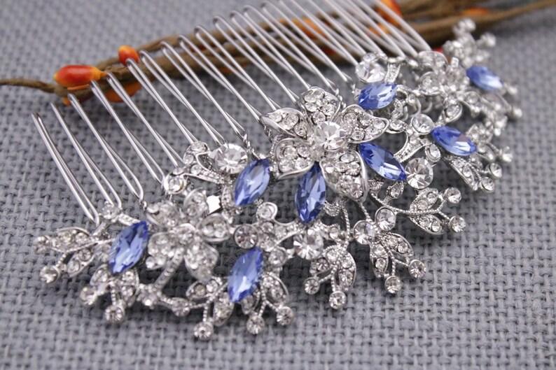 Bohemian Bridal headpiece Crystal hair barrette Bridesmaid hair comb Bridal hair comb blue Boho Wedding hair comb Rhinestone hair barrette