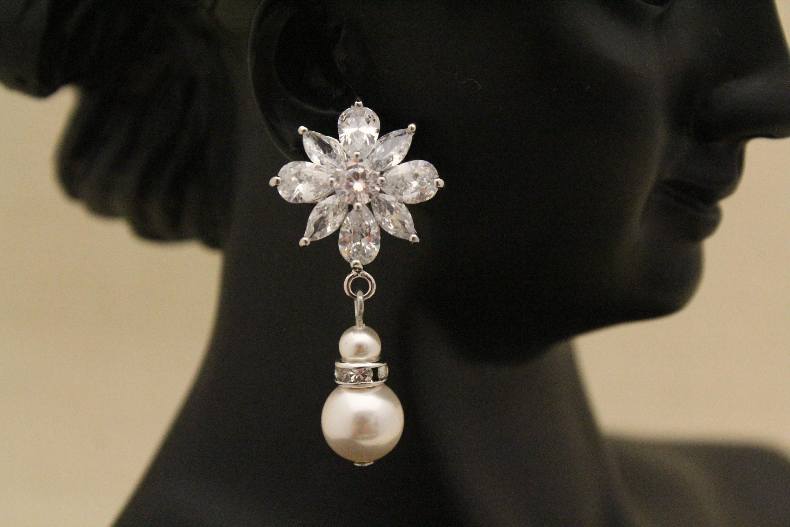 Vintage Style Bridal Earrings Chandelier Wedding Earrings Art Deco