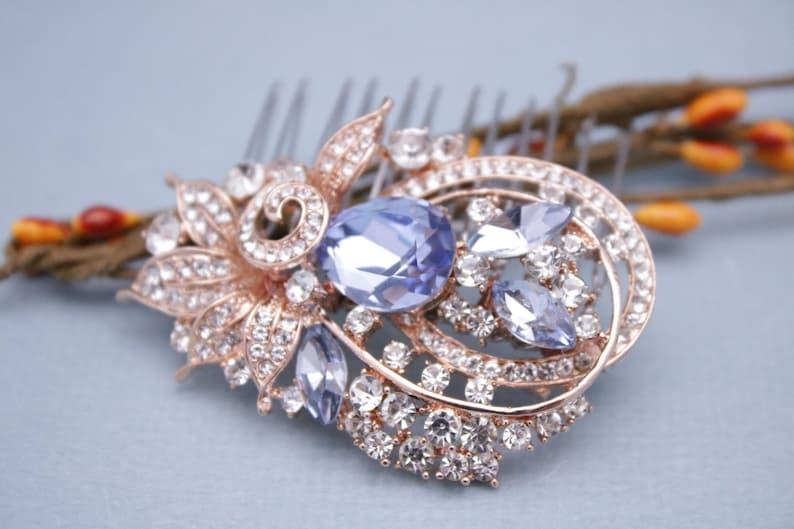 Vintage Inspired Something Blue Crystal Rhinestone Hair Comb,Wedding,Bridal hair comb,Wedding hair comb blue Wedding Light Sapphire Boho
