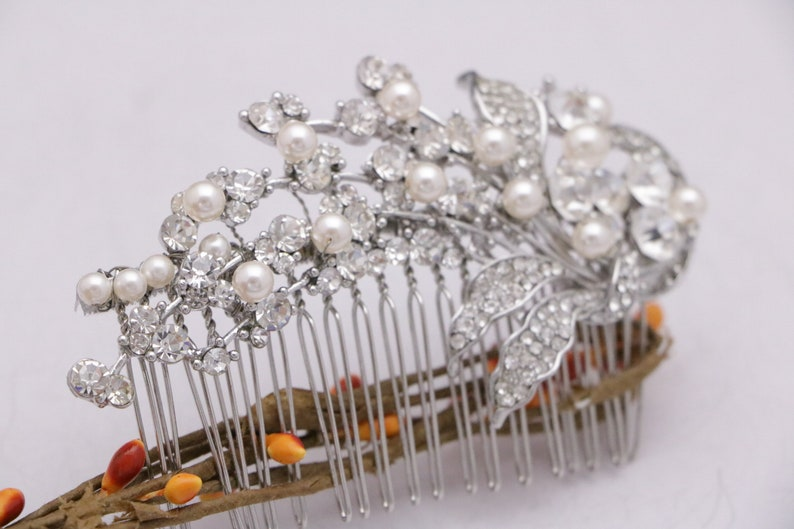 Bridal Hair Comb,Crystal Pearl Comb,Wedding Hair Piece,Bridal Comb,Rhinestone Hair Clip,Silver Wedding Comb,Wedding hair jewelry Prom comb