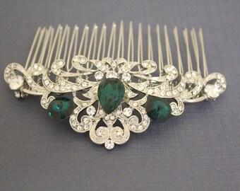 Emerald crystal Wedding hair accessories,Bridal hair comb,Wedding decorative combs,Wedding hair clip,Bridal comb,Wedding hair comb,Bridal