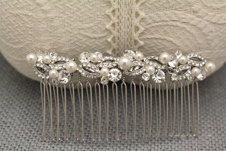 Bridal headpiece gold floral Wedding hair comb Pearl hair accessories Wedding hair jewelry Bridal hair comb Rhinestone hair comb Gold hair