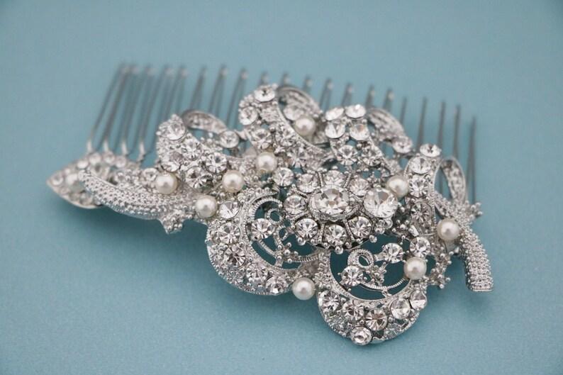 Vintage style Wedding hair comb Swarovski pearl Wedding hair image 0