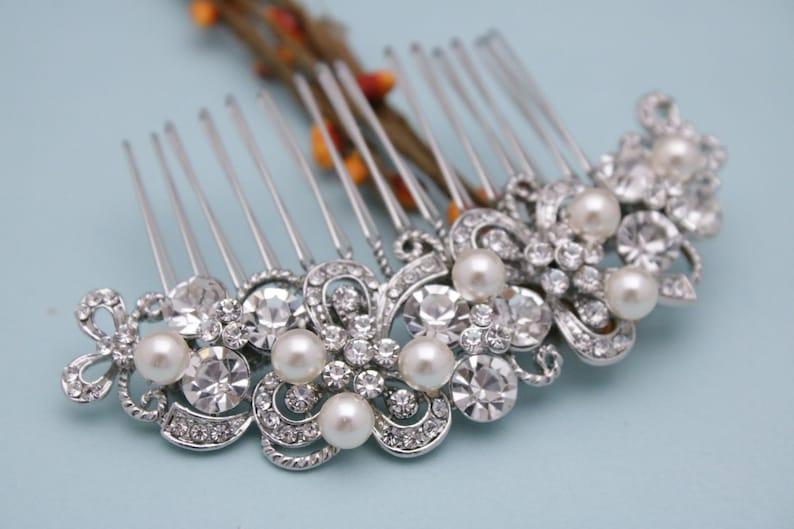 Bridal hair accessories pearl Wedding hair comb Crystal Bridal comb Wedding hair piece Rhinestone Wedding comb Boho Bridal hair comb Prom