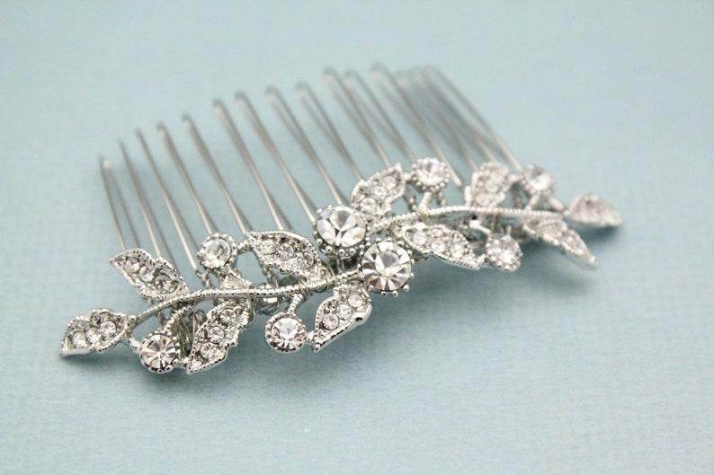 Wedding hair pieces leaf Bridal hair comb crystal Wedding hair accessories silver Bridal comb hairpiece Wedding hair comb rhinestone Prom
