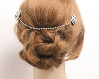 Wedding hair accessories,Bridal Hair chain headpiece,Art deco headpiece,wedding hair chain,Wedding headpiece,Bridal hair accessories comb