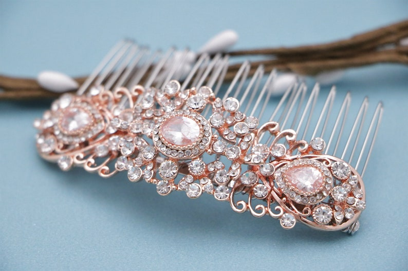 wedding comb rose gold hair accessories wedding hair comb Rhinestone hair piece Wedding hair comb Silver Bridal hair comb Crystal hair comb