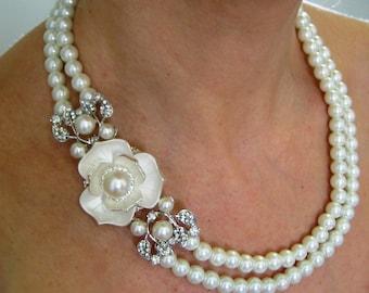 Bridal Ivory Swarovski Pearls Necklace, Weddings pearl necklace,Bridal Necklace,pearl Necklace,Bridal Jewelry , Vintage Style Bridal Jewelry