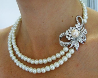 Bridal Necklace, Pearly Necklace ,wedding Necklace -Isabelle-  Ivory Swarovski Pearls and rhinestone  Necklace,- Made to Order