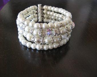 Bridal Pearl Bracelet 4 Strand Pearl Ivory Pearl Bridal Bracelet, Wedding Jewelry Bracelet, Statement Bridal Cuff Bracelet, Bridal Jewellery