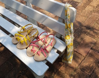 2997191cc509 Women s Gladiator Sandals Flat Shoes Flip Flops Style Pink or Yellow Simple  Natural Style Brown Leather Sandals EVA Foam Beach Boho Shoes