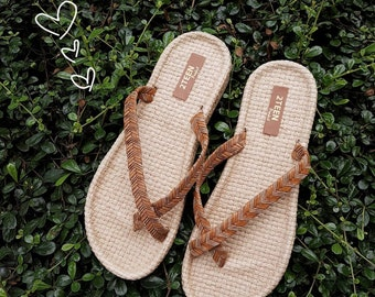 896e8d961a3b Brown Leather Sandals Women Sandals Flip Flops Style Embroider on Leather  Simple Natural Brown Leather Sandals EVA Foam Beach Boho Shoes