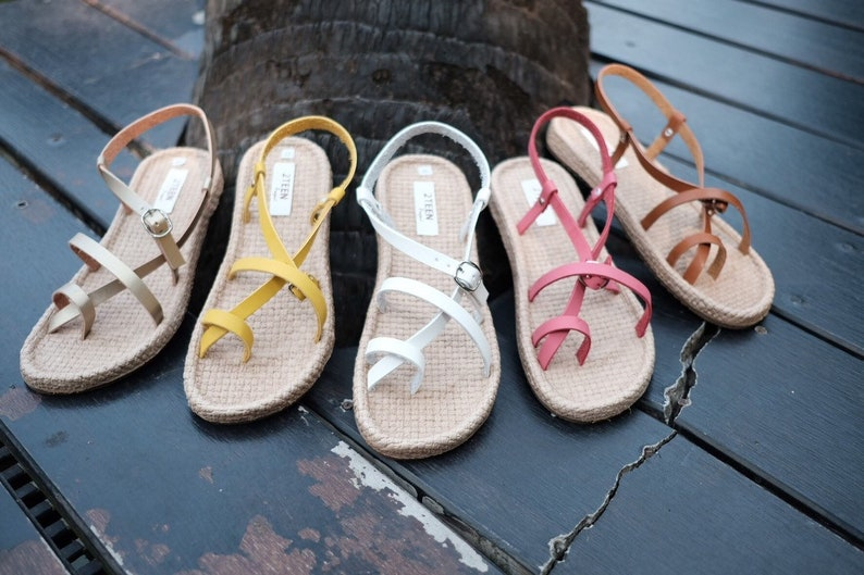 b327120504fe0 Women's Gladiator Sandals Flat Shoes Flip Flops Style Pink or Yellow Simple  Natural Style Brown Leather Sandals EVA Foam Beach Boho Shoes