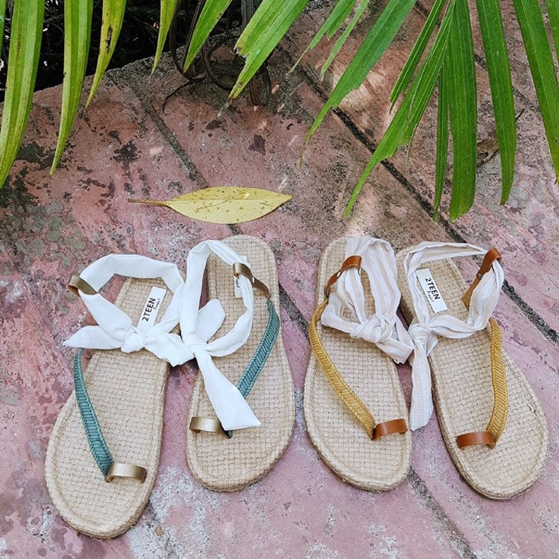 9fa9184470991 Summer Style Tied Sling Back Style Fabric Sandals Women Sandals Flip Flops  Style Embroider Leather Simple Boho Style Brown Leather Sandals
