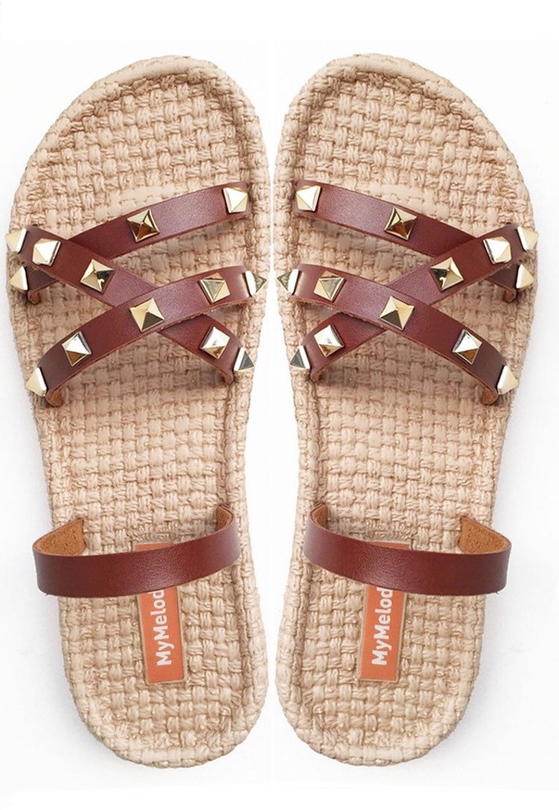 31c64744d59a6 Stud Shoes Bohemian Slip On Sandals African Women Sandals Flip Flops Style  Simple Boho Style Brown Leather Sandals EVA Foam