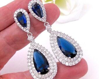 0ea75856b Sapphire Wedding Earrings BLUE Bridal Earrings Teardrop Vintage Style Luxury  Cubic Zirconia Fancy Pageant Earrings Wedding Jewelry
