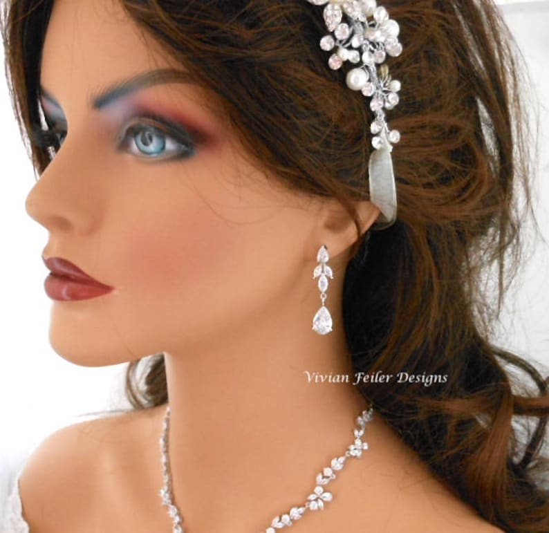 Bridal Jewelry Set Necklace Earrings PEARL Vintage Cubic Zirconia Jewelry Wedding Jewelry Set