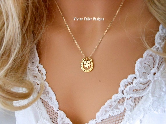 made in USA 14k or jaune en fer à cheval /& cheval 2 tons pendentif//Charme