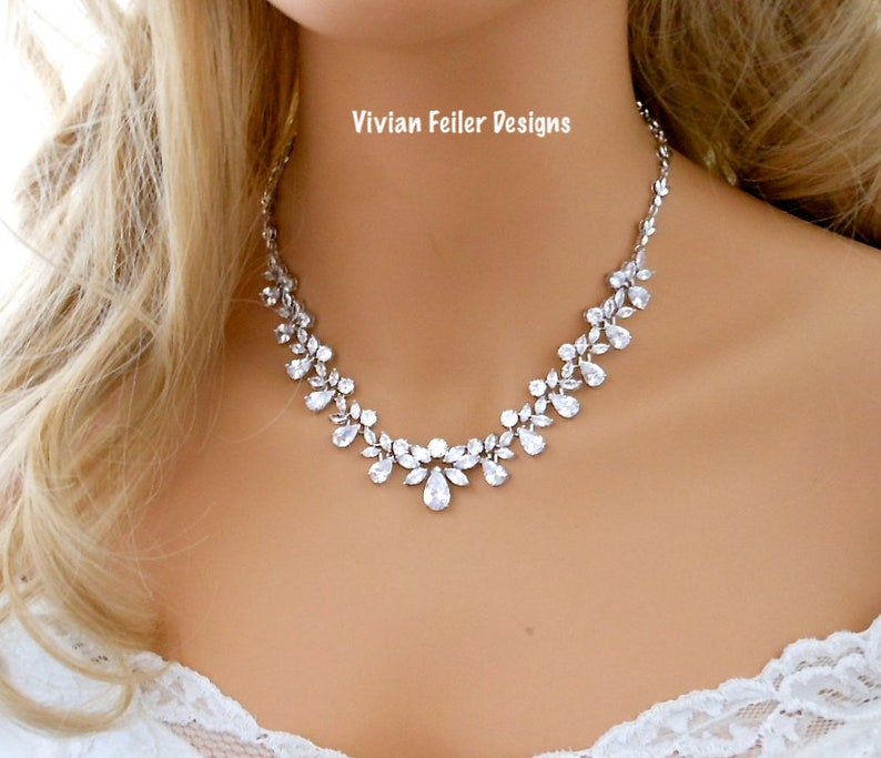 Rose Gold Crystal NECKLACE and EARRINGS Bridal Jewelry Set Cubic Zirconia mother of the bride Wedding Jewellery
