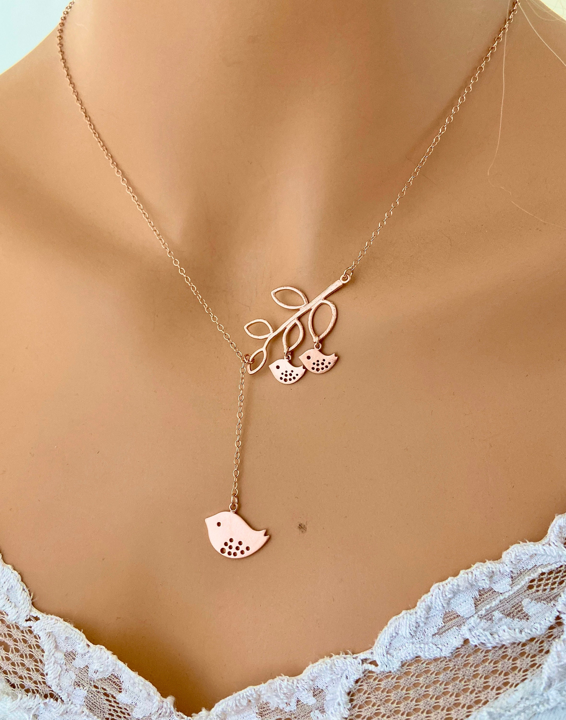 Mother son daughter Necklace ROSE GOLD Jewelry Linked Circle Mother of two husband wife child Gift for Mom Anniversary
