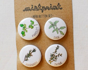 Herb Pinback Buttons- Set of 4
