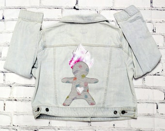 Upcycled Reclaimed 80s Inspired Goblin Troll Denim Jacket Punk Rock Style Backpatch Jacket