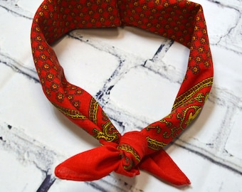 Vintage Stiff Ascot Ready Gold and Red Scarf Bandanna