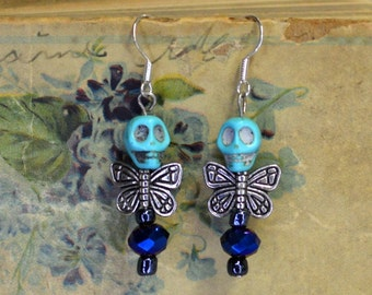 Charming Dead Fairy Turquoise Skull Blue Sparkle Bead Earrings Romantic Goth Jewelry