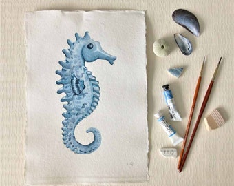 Original painting of a seahorse hippocampus illustration watercolour picture ocean series set collection