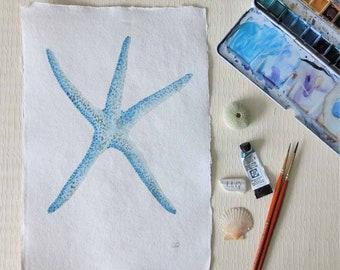 Sea star starfish original watercolour painting illustration beach style collection ocean coastal decor series