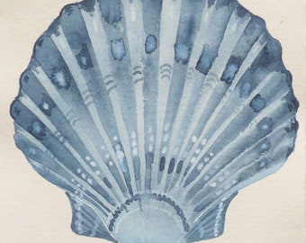 Original watercolour painting of a scallop clam fan seashell in indigo seaside style coastal collection series set