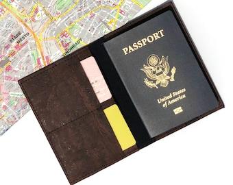 Passport Cover. Cork Travel Organizer. Travel Wallet. Vegan Passport Holder. Cork Passport Wallet. Gift for Traveler. Brown