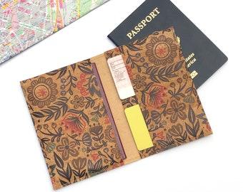 Passport Cover. Cork Travel Organizer. Travel Wallet. Vegan Passport Holder. Cork Passport Wallet. Gift for Traveler. Scandinavian Folk.