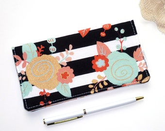 Checkbook Cover Piper Floral Stripe, Checkbook Holder Cash Wallet, Receipt Holder, Fabric Checkbook Cover, Gift For Her,  Gifts Under 20