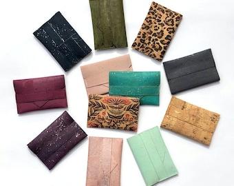 Cork Card Wallet. Cork Wallet. Card Holder. Faux Leather Wallet. Card Case. Vegan Cardholder. Vegan Wallet. Gift Under 20. Gift For Her.