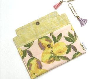 Lemon Coupon Holder. Cash Envelope Wallet. Citrus Checkbook Holder. Receipt Holder. Phone Case. Jewelry Pouch. Gift For Her.