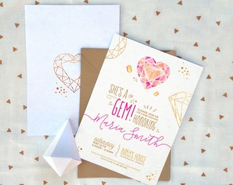 Gem Baby Shower Invitation, More precious than jewels