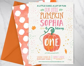 Pumpkin Patch Birthday | Pumpkin Birthday Invitation | Our Little Pumpkin Birthday Invite | Fall Birthday Invitation | DIGITAL FILE ONLY