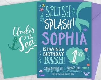 Mermaid Invitation, Mermaid Birthday Invitation, Under The Sea Invitation Mermaid Birthday Party